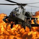 """An AH-64D Apache """"shows its muscles"""" at an air show."""
